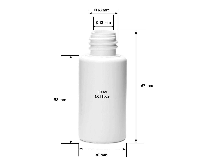 10 x 30 ml frascos de plástico, botellas de plástico de polietileno de alta densidad con tapa con cuentagotas o gotero, frascos vacíos para p.ej. e-líquidos ...