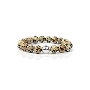 Shinus Spotted Stones Beaded Genuine Semi Precious Bracelets Chakra Stretch Handmade Unisex Christmas Gift