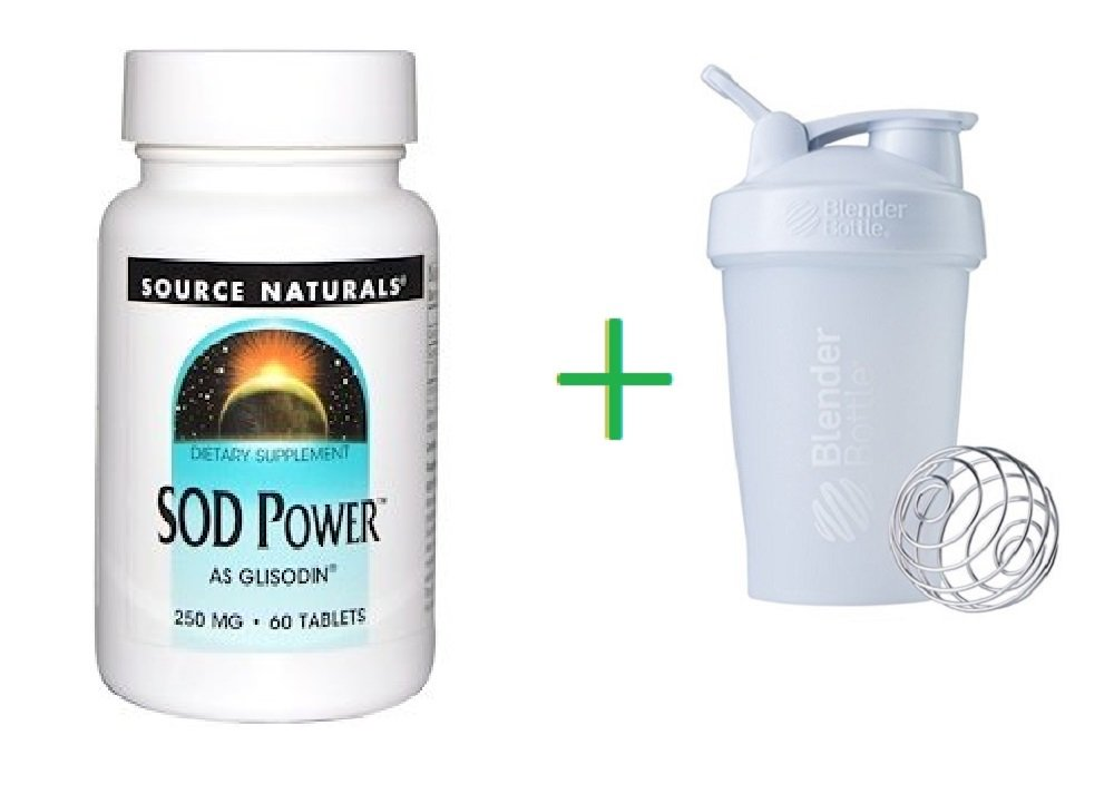 Source Naturals, SOD Power, 250 mg, 60 Tablets + Assorted Color Sundesa, BlenderBottle, Classic With Loop, 20 oz