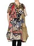 Mordenmiss Women's Summer Abstract Printing Baggy Dress with Pockets L Brown