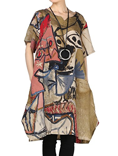 Mordenmiss Women's Summer Abstract Printing Baggy Dress with Pockets M ()