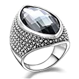 Mytys Vintage Black Marquise Crystal Silver Cocktail Ring Fashion Jewelry for Women