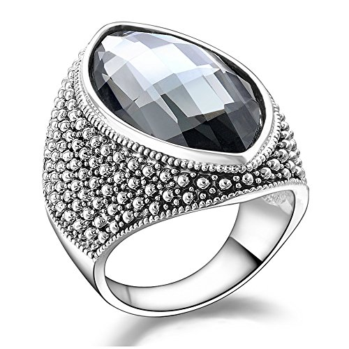 Gray Womens Ring - Mytys Vintage Retro Gray Crystal Statement Cocktail Ring Women Silver Plated Size 7/8/9/10 (7)