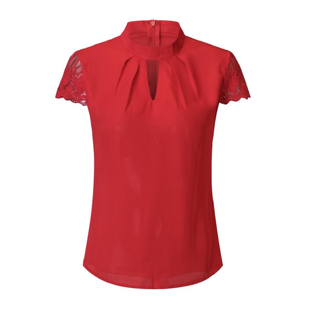 HGWXX7 Women Casual Lace Splice V-Neck Short Sleeve Chiffon Plain Blouse T-Shirt HGWXX7-11