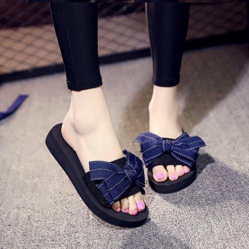 fondo señoras de plano al Dulces zapatillas FLYRCX d libre dedos Moda bow del de playa calzado casual aire verano Hn8ZFnx