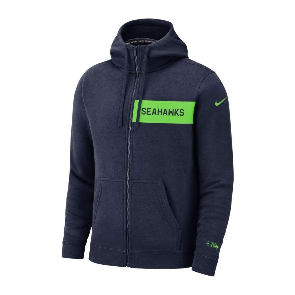 Amazon.com  Nike Men s Seattle Seahawks Full Zip Fleece Club Hoodie College  Navy Action Green Size Small  Clothing e8c063a91