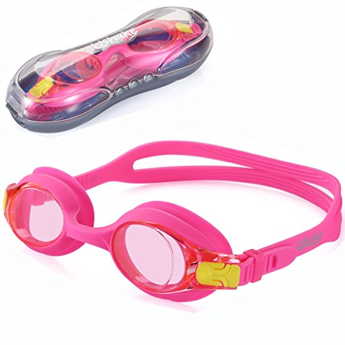 Girl Swim Goggles, UShake Anti-fog UV Protection Hypoallergenic Silicone Gaskets Swimming Goggles for Kids and Early Teens (PINK)