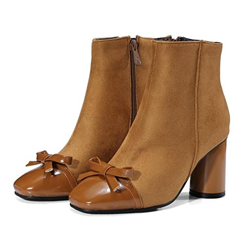 Autunno Testa Farfalla Inverno 9 Eur Cravatta A Donna Nvxie Tacchi Scamosciato Corti Artificiale Marrone Brown Partito 43 uk Lavoro Quadrata Stivaletti eur40uk7 Alti Pu Nero WX7vBnZa7
