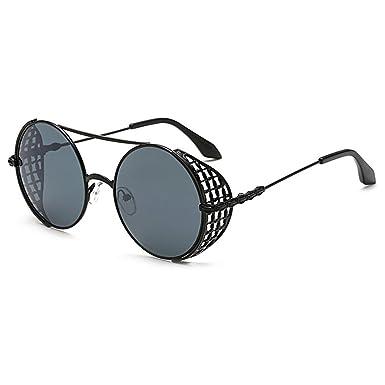 MEIHAOWEI Steampunk Sunglasses Reflective Glasses Round Retro Frame ...