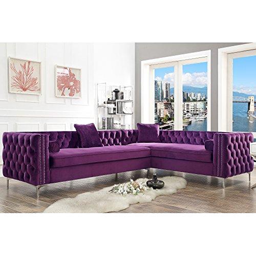 Inspired Home Purple Corner Sectional Sofa – Design: Giovanni | 120″ Right Facing | Velvet | Storage | Metal Legs | Tufted Design