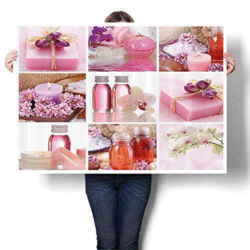 Canvas Prints Wall Art Flowers Pink Gift Wraps Tiny t Bottles and Candles Collage Bathroom Colorful Paintings for Bathroom Home Decorations,60