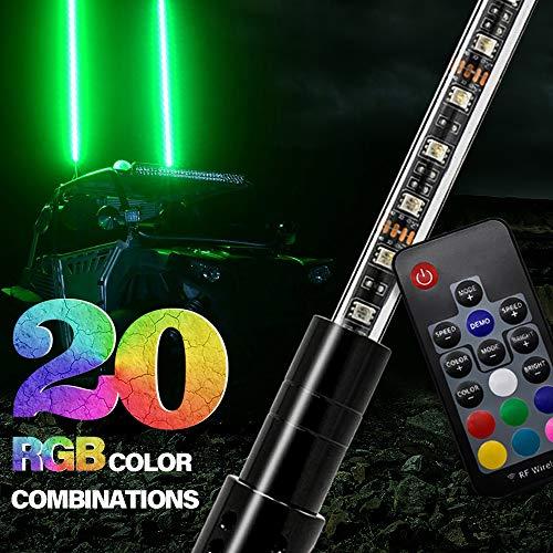 GTP 3ft LED Whip Lights 20 Color RGB - 21 Modes Lighted Antenna Whips W/Flag for ATV UTV Polaris RZR Off Road Jeep Can-am Maverick Yamaha Sand Dune Buggy 4X4 Quad