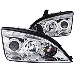 Anzo USA 121168 Ford Focus Projector With Halo/Chrome Clear With Amber Reflectors Headlight Assembly - (Sold in Pairs)