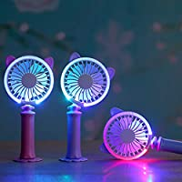 USB Table Desk Personal Fan Mini Handheld Fan Cat Shape Built-in LED Atmosphere Light for Home Office Table Color : Blue, Size : One Size