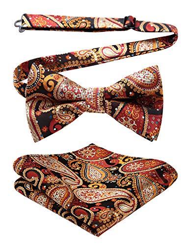 Enlision Floral Paisley Pre-tied Bow Tie Adjustable Men's Bowtie Jacquard Woven Party Handkerchief Pocket Square Set Brown ()