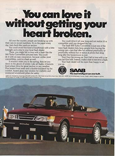 Magazine Print ad: Red 1989 Saab 900 Turbo Convertible,