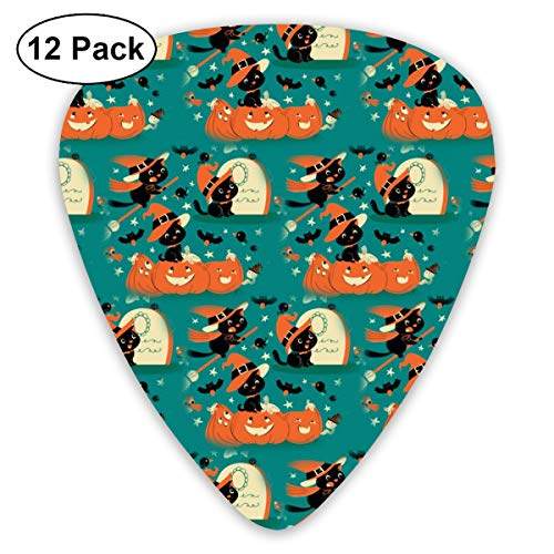 Halloween Kitty Witch Cat 351 Shape Classic Celluloid Guitar Pick For Electric Acoustic Mandolin Bass (12 Count)]()