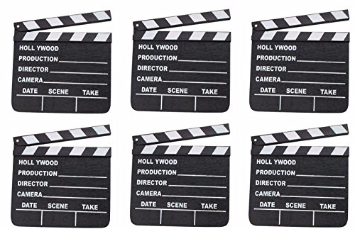 LOT OF 6 HOLLYWOOD CLAPPERS MOVIE CLAPBOARD CLAPPERBOARD WHOLESALE BY DISCOUNT PARTY AND NOVELTY (Novelty Wholesale)