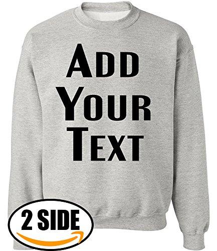 (TEEAMORE Men Women Custom Crewneck Sweatshirts, Add Your Text, Team Name Number Ash Grey )