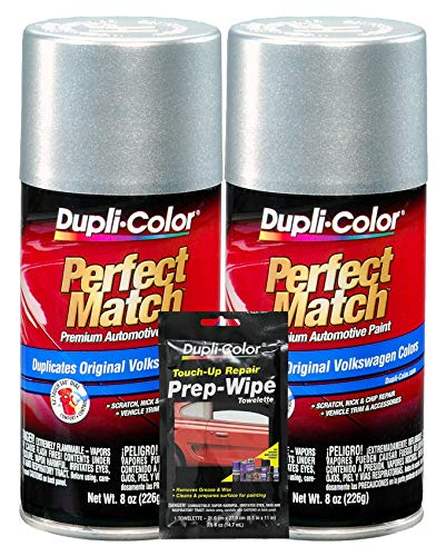Dupli-Color Reflex Silver (Metallic) Exact-Match Automotive Paint for Volkswagen Vehicles - 8 oz, Bundles Prep Wipe (3 Items)