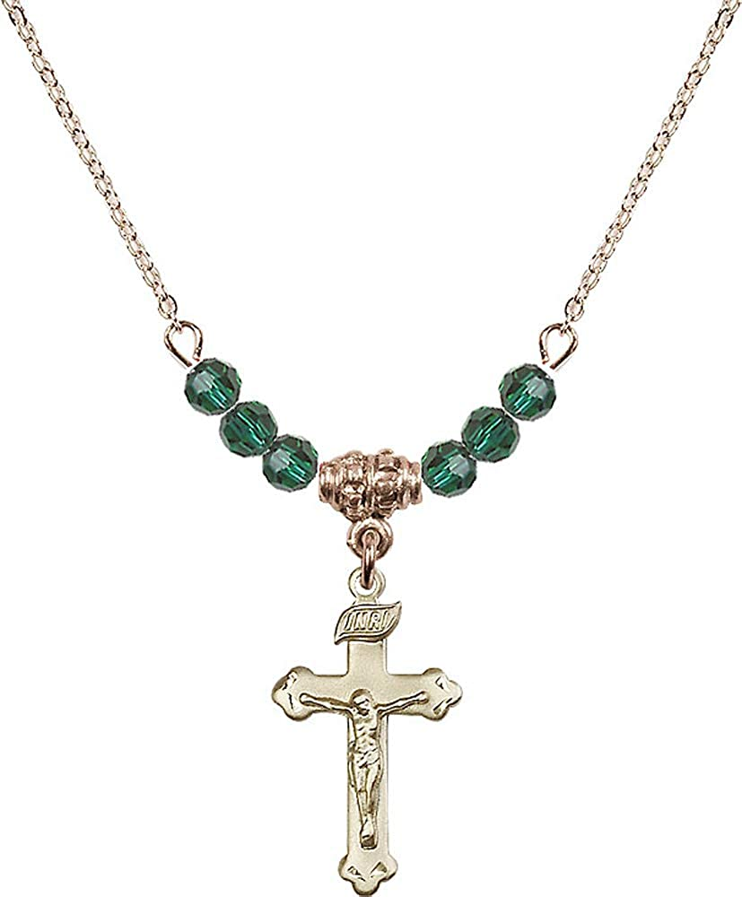 18-Inch Hamilton Gold Plated Necklace with 4mm Emerald Birthstone Beads and Crucifix Charm Green Emerald May Birthstone