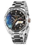 Pagani Design Black Dial Motor Sport Diving Mens Multifunction Tachymetre Chronograph Silver Wrist Watch