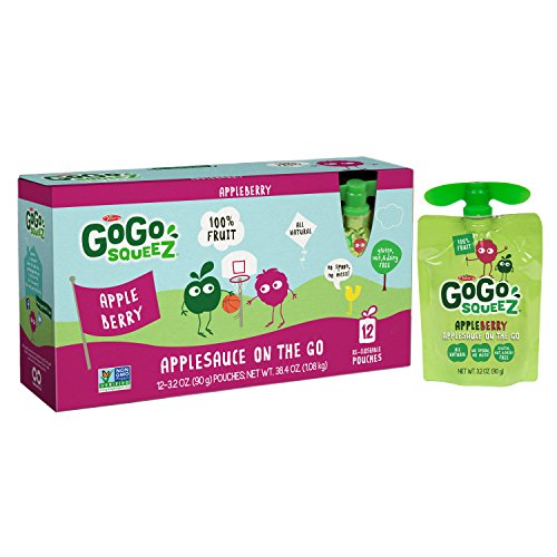 GoGo squeeZ Applesauce on the Go, Apple Berry, 3.2 Ounce Portable BPA-Free Pouches, Gluten-Free, 12 Total Pouches