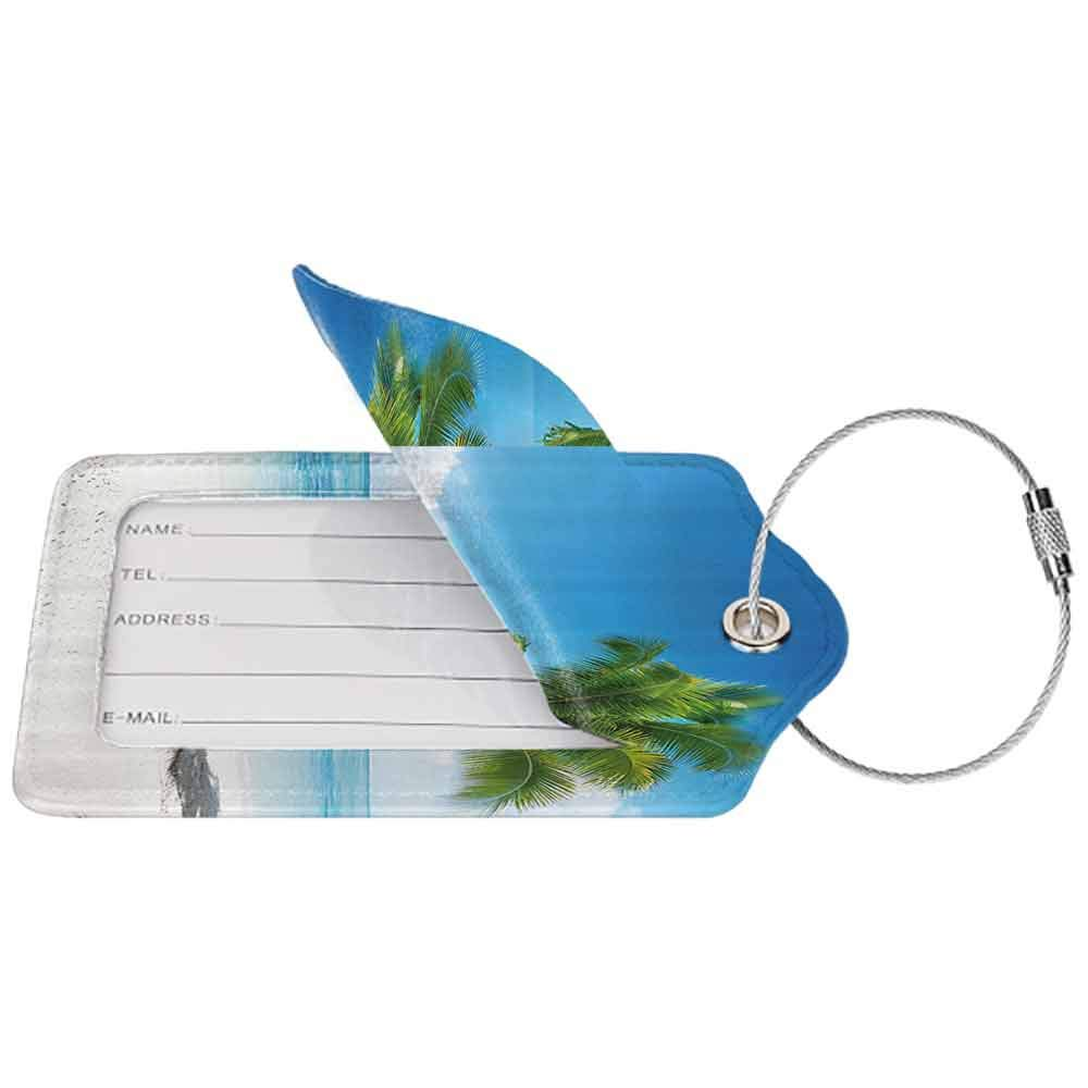 Waterproof luggage tag Landscape Caribbean Maldives Beach Island Sea Ocean Palm Trees Artwork Print Soft to the touch Sky Blue Green and White W2.7 x L4.6