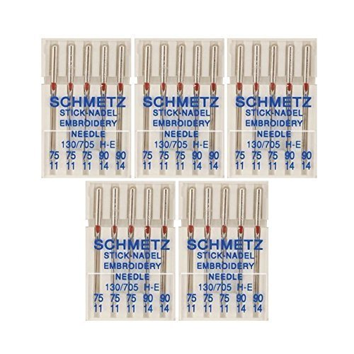 25 Schmetz Assorted Embroidery Sewing Machine Needles 130/705H H-E Size 75/11 and 90/14 (Machine Embroidery Needles)