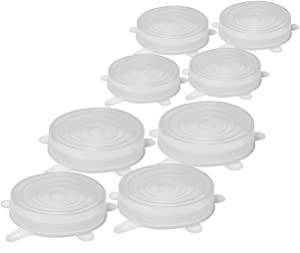 8 Pcs. Silicone Stretch Lids 3.5 In & 2.5 In Diameter, Pack of 4 for Each Size for Keeping Food Fresh, to Cover Bowls, Cans, Jars, Glassware, Food Savers, Reusable, Safe for Use in Dishwasher
