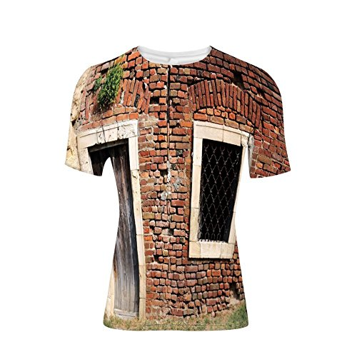 Entrance Aged Iron - Tee Shirts Tops,Wall Suburban Area European Aged House Entrance,Mens 3D Print