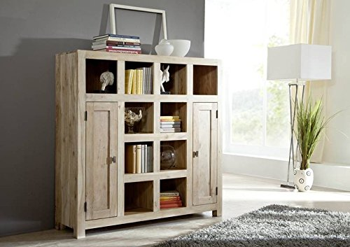 massiv holz m bel akazie regal massivholz m bel nature white 82 g nstig kaufen. Black Bedroom Furniture Sets. Home Design Ideas