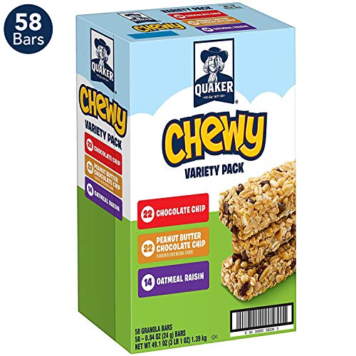 (Quaker Chewy Granola Bars, 3 Flavor Variety Pack (58 Bars))