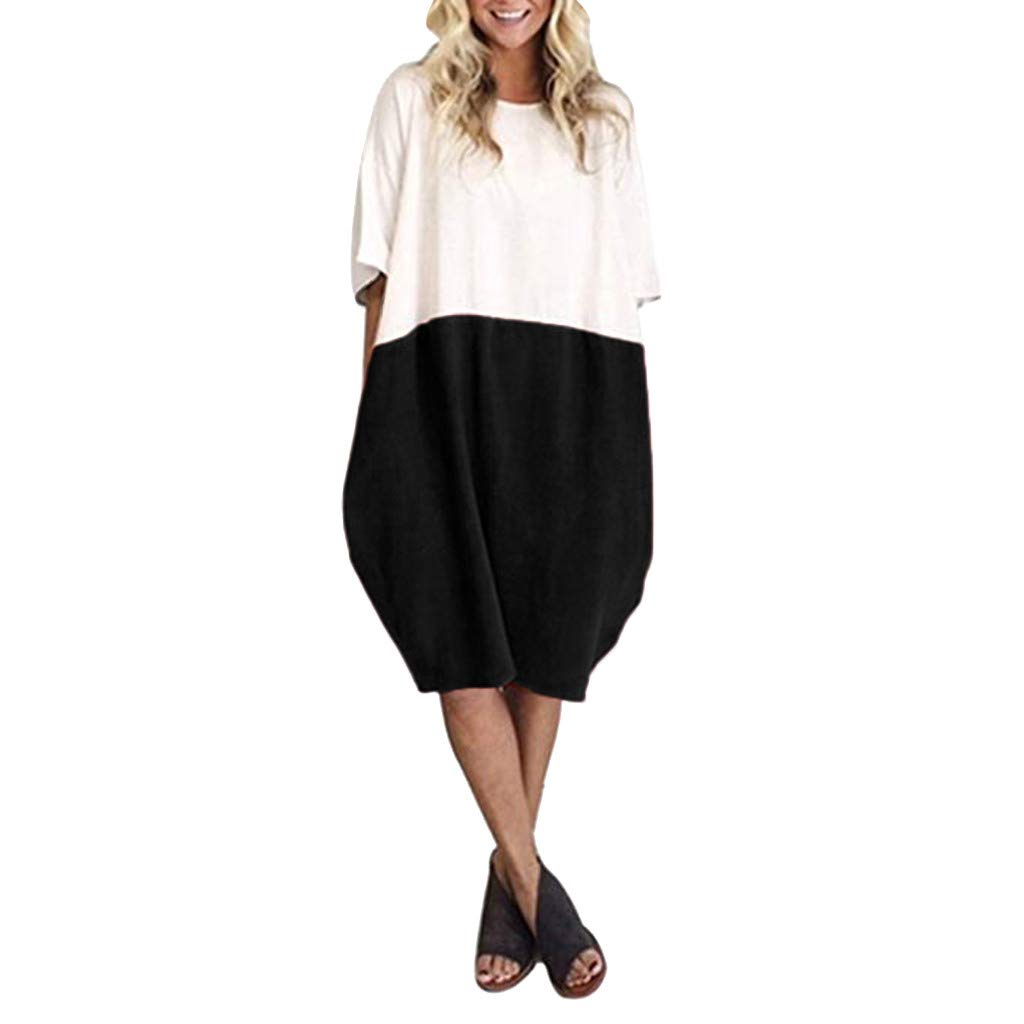 TIFENNY Women Casual Loose Midi Dress Cotton Linen Patchwork Color Bat Half Sleeve Soild Button Splice Pocket Dresses Black