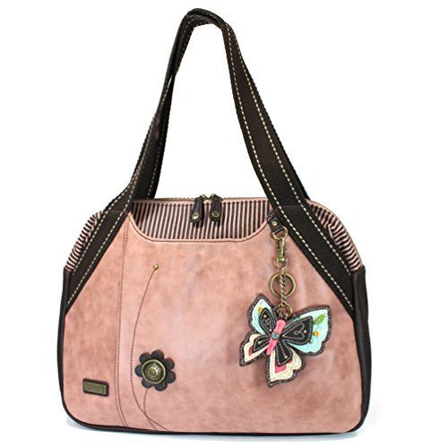 Butterfly Key Fob - Chala Handbags Dust Rose Shoulder Purse Tote Bag with Key Fob/coin purse - Dusty Rose (New Butterfly Dusty Rose)