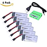 HEIOKEY 6pcs Upgrade 3.7V 520mAh 25C LiPO Battery with X6 Battery Charger for Hubsan X4 H107,H107C,H107L RC QuadCopter,Syma X11 X11C,Holy Stone HS170 HS170C F180C Compatible with Walkera Super CP