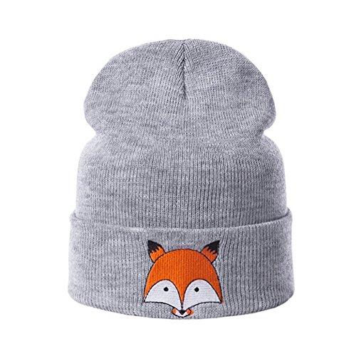 Fashion New Sweet Cute knit Fox Beanie Winter Warm Baby Kids Boys Girls Soft Knitting Hats (Light Grey)