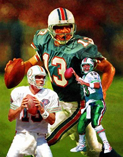 Dan Marino Miami Dolphins QB Quarterback NFL Football Art Print 11x14-24x30 ()
