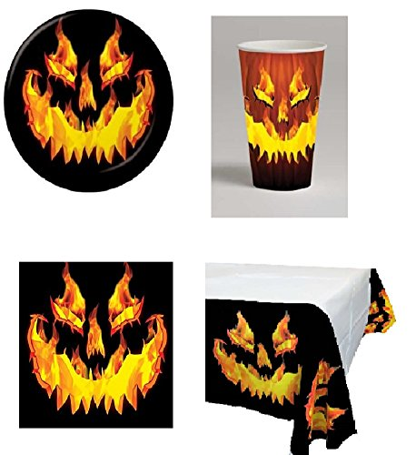 Fiery Pumpkin Halloween Party Pack Serves 8- Cups, Plates, Napkins & Table Cover -