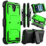 Venoro Compatible ZTE Prestige 2 Case, ZTE Prelude Plus Case, Shockproof Full Body Protection Case Cover Swivel Belt Clip Kickstand Compatible with ZTE Prestige 2 / ZTE Prelude Plus (Green)