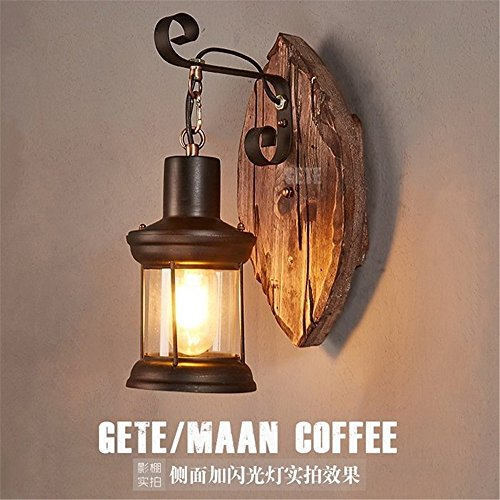 Industrial Vintage Wall Sconces Retro LOFT Wooden Glass Dome of Light Sepia Restaurant and Coffee Lounge Aisle Bedroom Bedside Wall ()