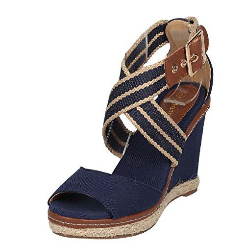 Nature Breeze Womens Peep Toe Criss Cross Ankle Strap Espadrille Wedge Platform Heel Pump Sandal 11 Navy