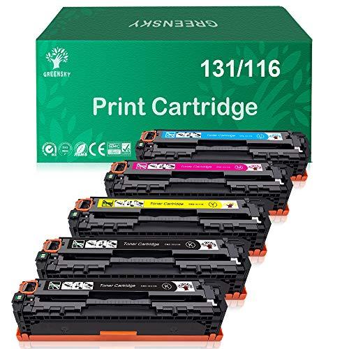 (GREENSKY Compatible Toner Cartridge Replacement for HP 131A 131 for Canon 131 131H MF624Cw MF628Cw LBP7110Cw MF8080Cw MF8280Cw LBP7110Cw (Black, Cyan, Yellow, Magenta, 5 Pack))