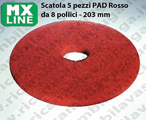 Dischi Pad MX LINE Rosso 8' - 203 mm, Made in EU per lavapavimenti e monospazzole
