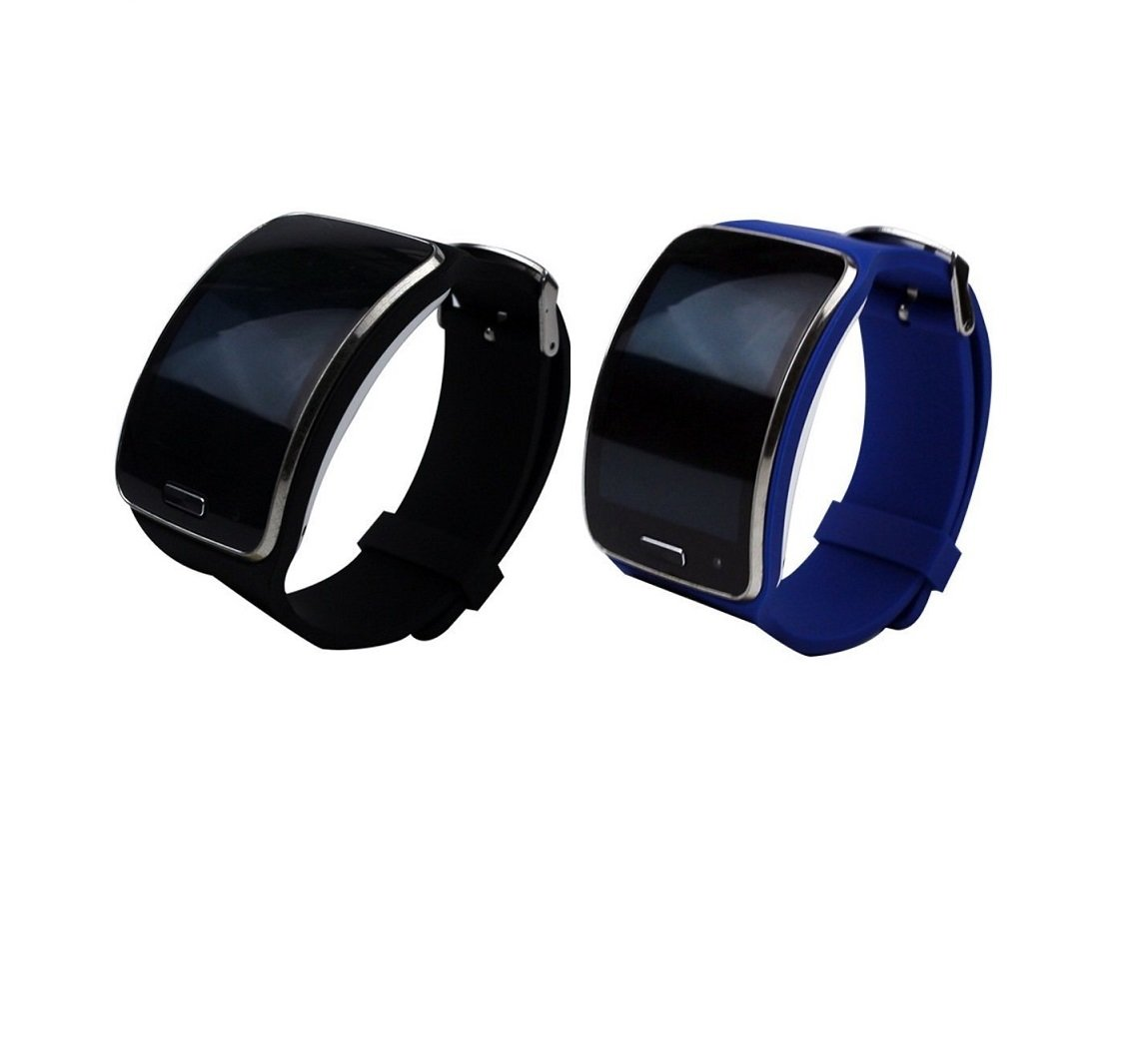 TenCloud Samsung Galaxy Gear S SM-R750 Smartwatch Replacement Silicone Sport Band Black+Blue