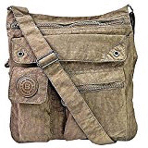 LUXUS Schultertasche MODISCHE Damentasche Umhängetasche BAG STREET Braun Stone