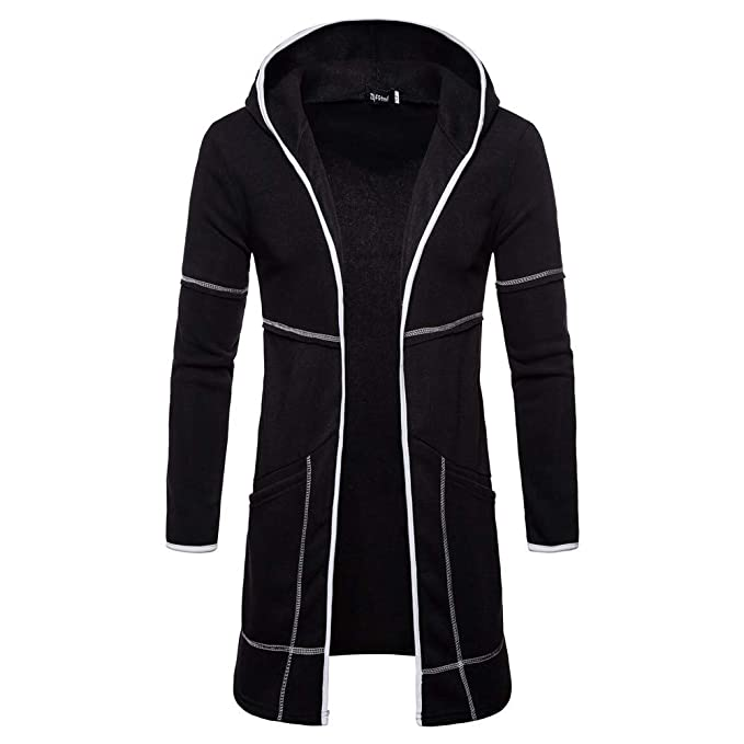 aliveGOT Mens Long Sleeve Open Front Longline Hooded Cardigan Coat Jacket  (Black 3587a31f7