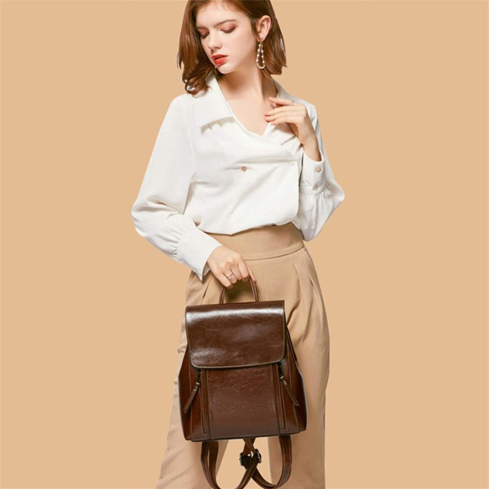 ZYSTMCQZ Stor kapacitet mode vardaglig kvinna retro kvinnor ryggsäck, skolväskor för tonårsflickor vattentät läder resväska för kvinnor axelväska svart (färg: grå) Brun