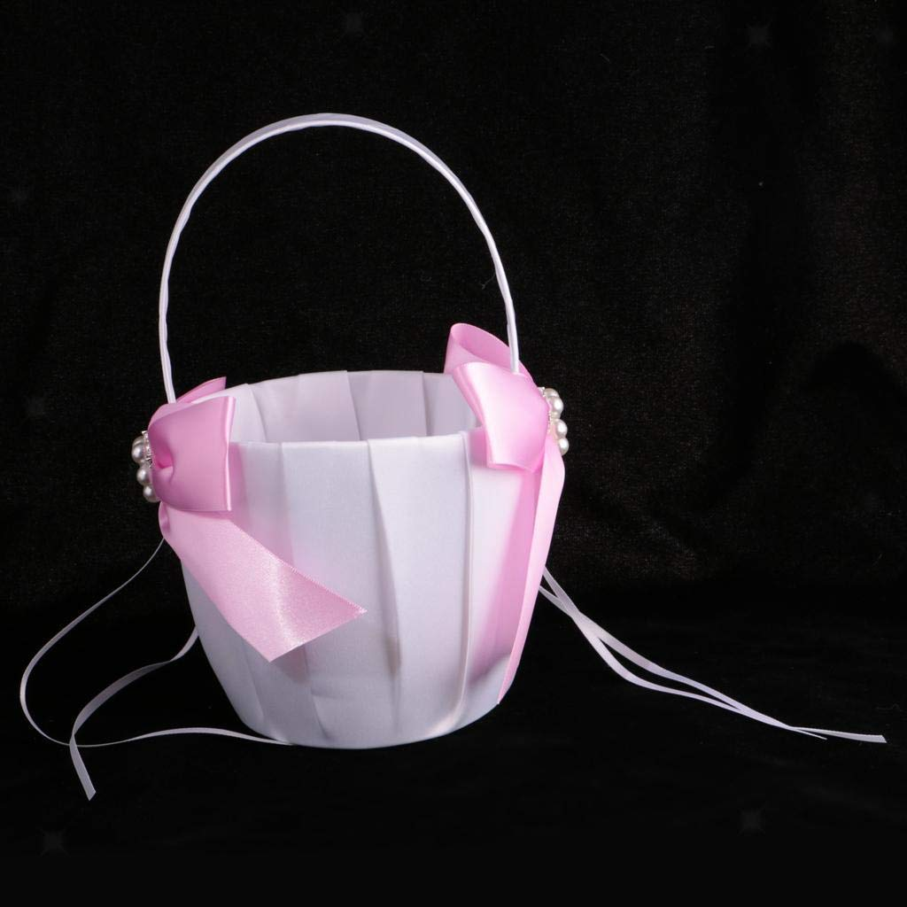 Agordo Satin Bowknot Pearls Flower Girl Basket Wedding Party Ceremony Pink