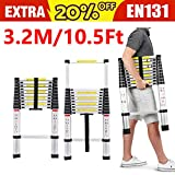 Telescopic Ladder 3.2M 10.5FT Extension Folding Foldable - Multi Purpose Ladder High Quality Aluminum DIY Single Straight Style Climb Telescopic Ladder Extendable Steps 330 Pound/150Kg Load